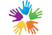 Five hands in a circle- a symbol of friendship