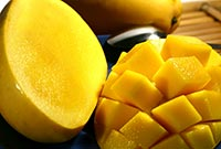 Fresh mango is a delicious snack
