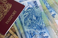 Passport and peso bills