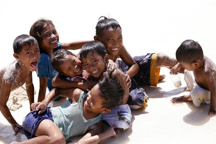 Cheerful children on the beach